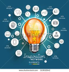 Light Bulb Ideas concept template. Can be used for workflow layout, banner, diagram, web design, infographic template.