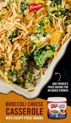 This broccoli and cheese casserole is loaded with creamy goodness and topped with French's Fried Onions. With only 10 minutes of prep time, this dish is great for holiday party entertaining and potluck dinners. Tap the Pin to discover the full recipe. Broccoli Recipes, Vegetable Recipes, Vegetarian Recipes, Cooking Recipes, Healthy Recipes, Free Recipes, Veggie Dishes, Food Dishes, Casserole Dishes