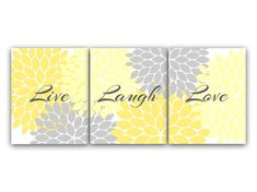 Home Decor Wall Art Live Laugh Love Yellow Wall by WallArtBoutique, $20.00