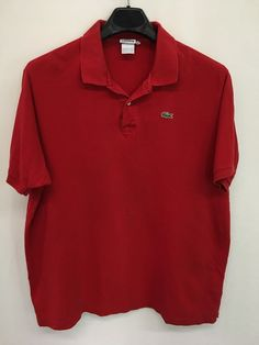 MENS 2XL XXL SLIM LACOSTE ALLIGATOR POLO SHIRT RED SHORT-SLEEVE CASUAL #Lacoste #PoloRugby
