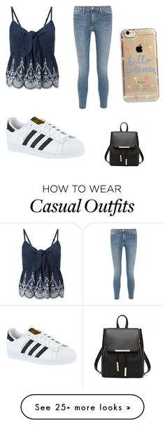 """Casual Summer Outfit"" by lsantana13 on Polyvore featuring Miss Selfridge, Frame Denim, adidas and Agent 18"