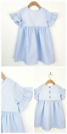 Girls dress // Bell sleeve dress in seersucker // toddler dress // baby dress // girls clothing // spring clothes // party dress // #toddler #easter #affiliate