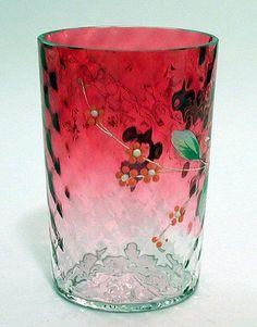 Victorian Art Glass Enameled Rubina Tumbler Cranberry to Clear