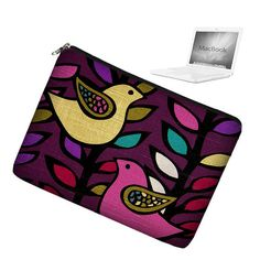 "Laptop Sleeve 13 inch Macbook Pro 13"" Laptop Bag  Macbook Laptop Case Mac Cover padded zippered - Cute Bird Violet Teal Yellow - In Stock"