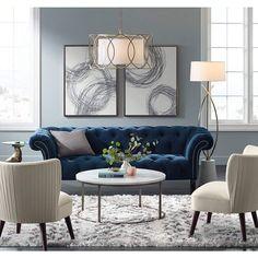 Interior Living Room Design Trends for 2019 - Interior Design Blue Couch Living Room, Formal Living Rooms, New Living Room, Living Room Interior, Navy Blue And Grey Living Room, Modern Living, Living Area, French Country Living Room, Living Room Inspiration