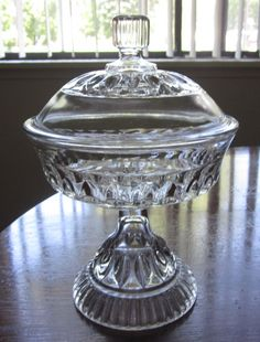 EAPG 1890 O'Hara Glass Co Cordova thumbprint prism buttress Lid compote