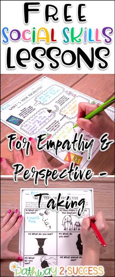 Free social skills lessons to teach empathy and perspective-taking to kids and young adults.