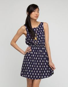 Silky, printed tank dress with cinched waist, low v-back and easy, feminine fit. Need Supply Co, Graduation Dresses, Cold Shoulder Dress, June, High Neck Dress, Paris, Desserts, Recipes, How To Wear