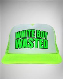 d06fc54eae5  White Boy Wasted  Trucker Hat  Logan Trick Flat Bill Hats