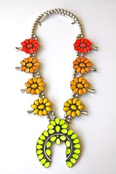 Ombre Squash Blossom Necklace Hand Cast Sterling by DolorisPetunia, $425.00