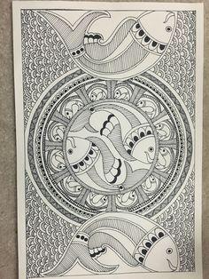Madhubani painting Mural Painting, Fabric Painting, Kalamkari Painting, Madhubani Art, Indian Folk Art, Madhubani Painting, Indian Art Paintings, Buddha Art, Mandala Drawing