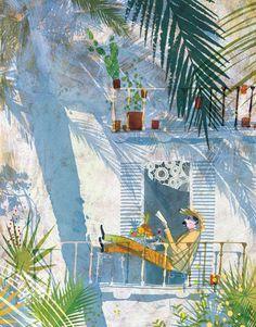 Placeres del verano: leyendo en el balcón…. a la fresca (ilustración de Victoria Semykina)