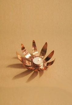 Buy Hand Beaten Copper Sunflower T Light Copper Lamps, Copper Lighting, T Lights, Wall Lights, Indian Wedding Gifts, The Secret Label, Winter Warmers, Tea Light Holder, Tea Set