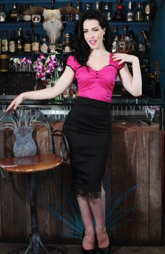 Pinup rockabilly black lace pencil skirt - Holachicaclothing