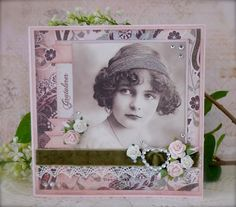 Synnøves Papirverksted: Vintage card in pink