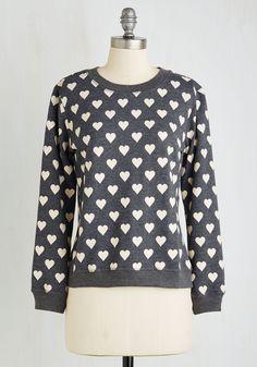 Tea for Too Cute Sweatshirt - Grey, Novelty Print, Print, Casual, Long Sleeve, Knit, Good, Scoop, Cotton, Mid-length