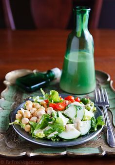 "Low-fat tahini chickpea dressing. If you are participating in ""The Great Salad Challenge"" this one is for you!"