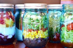 5 mason jar salads  Perfect for On The Go lunches. Taco Salad, Grilled Chicken Salad, Fruit and Yogurt and veggies and ranch. A recipe for blueberry syrup no sugar