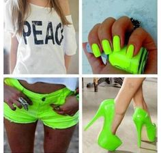 Neon awesomeness...I love neon, but I'm too scared to wear it! :: #green :: #neon - ☮k☮