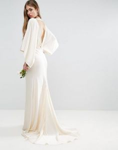 ASOS BRIDAL Kimono Plunge Back Maxi Dress