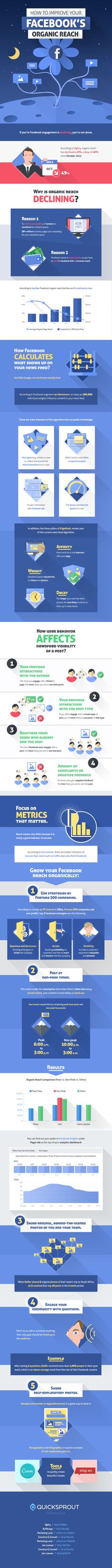 #SocialMedia Marketing: How to Improve Your Facebook's Organic Reach - #Infographic
