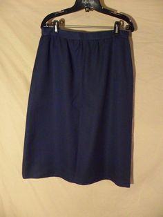 NEW VINTAGE Stephen Douglas Below Knee Length Pencil Skirt Blue USA MADE-14 #StephenDouglasLtd #StraightPencil