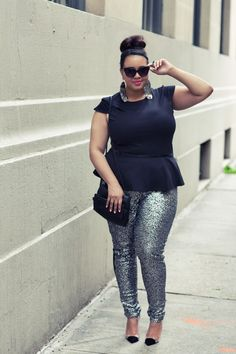 An outfit I plan to recreate for a hot summer night time party!! plus size, funky, gabifresh, peplum, sequins....