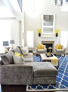 Mustard Living Rooms, Living Room Themes, Beige Living Rooms, Living Room Images, Living Room Color Schemes, Colour Schemes, Color Combinations, Yellow Living Room Furniture, Blue And Yellow Living Room