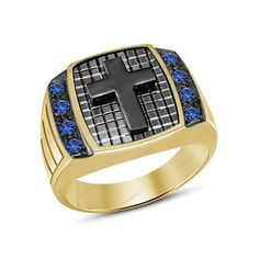 Two Tone Plated 2/3 CT Round Blue Sapphire Religious Cross Men's Ring Size 7-14 #aonedesigns #ReligiousCrossMensRing