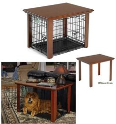 Omg such agood idea, this makes it look like those $100 custom crates!Table for dog crate