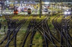 Westbahnhof vienna - The Vienna West Railway Station from a bridge photographed. Night shooting Long Exposed and combined to HDR.