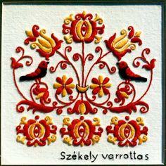 Hungarian folk pattern from Székelyföld, Transylvania. Hungarian Embroidery, Folk Embroidery, Learn Embroidery, Chain Stitch Embroidery, Embroidery Stitches, Embroidery Patterns, Stitch Head, Art Du Fil, Embroidery Techniques