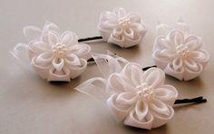 Kanzashi+Fabric++Flowers++Wedding+accessories+set++White+by+JuLVa,+$70.00