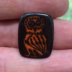 Vintage 1950s to 1960s enamel on copper owl brooch by PLAYBIRD. Collection of Stephen Parfitt, Springfield Illinois.