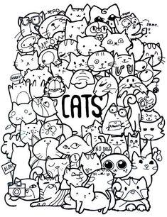 Антистресс раскраски для взрослых. Арт-терапия Doodle Coloring, Coloring Books, Colouring, Cute Doodles, Kawaii Doodles, Kawaii Drawings, Doodle Drawings, Doodle Wall, Cat Drawing