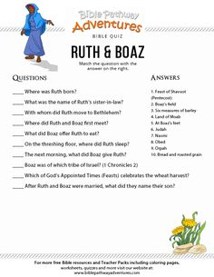 Enjoy our free Bible Quiz: Ruth and Boaz. Fun for kids to print and test their knowledge. Feel free to share with others, too! Bible Activities For Kids, Bible Stories For Kids, Bible Study For Kids, Kids Bible, Church Activities, Sunday School Kids, Sunday School Activities, Sunday School Lessons, Bible Quiz