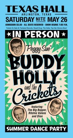 Buddy Holly and the Crickets with Ritchie Valens, The Big Bopper, and Dion. A tour that soon ended in tragedy. Rock And Roll, Pop Rock, Rock Posters, Band Posters, Vintage Concert Posters, Vintage Posters, Norman Rockwell, Genre Musical, Ritchie Valens