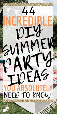 44 Amazing DIY Summer Party Ideas you Need To Know! These summer party ideas will ensure your outdoor party is unforgettable! Summer Party Games, Summer Party Decorations, Summer Parties, Party Themes, Party Ideas, Spring Party, Theme Ideas, Yard Party, Party