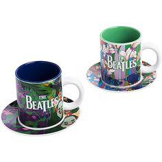 Vandor The Beatles Yellow Submarine Teacups & Saucers Set of 2 - Version 1 Coffee Set, Coffee Cups, Tea Cups, Cup And Saucer Set, Tea Cup Saucer, Lunch Box Cooler, Cool Tee Shirts, Yellow Submarine, Mugs Set