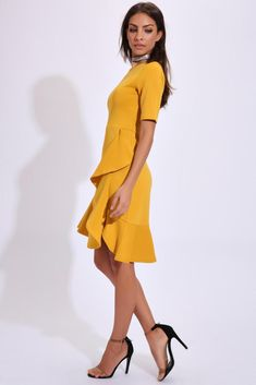 Mustard Short Sleeved Ruffle Hem Dress