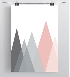 Mountains Art Scandinavian Print Abstract Poster by PrintAvenue