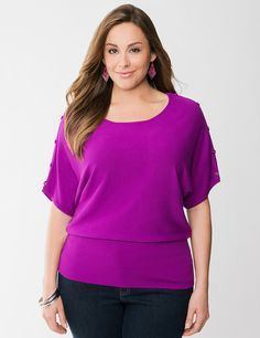 Plus Size Button Shoulder Dolman Sweater by Lane Bryant | Lane Bryant