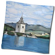 """Hodvábna šatka """"Liptovská Mara"""" z prírodného hodvábu motivovaná vodným dielom na strednom Liptove na Slovensku. Hodvábna šatka s olejomaľbou inšpirovaná moderným umením. chladí.http://bit.ly/TNJEw2"""