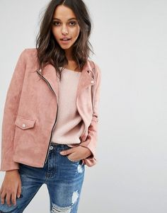 Missguided   Missguided pink Faux Suede Biker Jacket at Asos