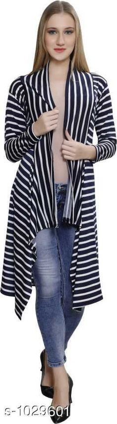 Capes, Shrugs & Ponchos Stylus Lycra Shrugs  *Fabric* Lycra  *Sleeves* Sleeves Are Included  *Size* M - 34 in, L -36 in, XL- 39 in  *Length* Up To 34 in  *Type* Stitched  *Description* It Has 1 Piece Of Women's Shrug  *Pattern* Striped  *Sizes Available* Free Size, M, L, XL *   Catalog Rating: ★4 (113)  Catalog Name: Cora Stylus Lycra Shrugs Vol 18 CatalogID_124406 C79-SC1024 Code: 904-1029601-