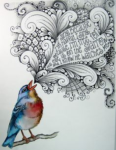 """I sing because I'm happy. I sing because I'm free. For His eye is on the sparrow,  I know He watches me.""   http://blog.tombowusa.com/wp-content/uploads/files/IMG_3624.jpg"