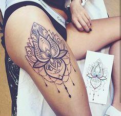 Mandala tattoo leg, mandala tattoos for women, ladies thigh tattoo, back . Mandala Tattoo Leg, Mandala Tattoos For Women, Thigh Tattoos For Women, Dreamcatcher Tattoo Thigh, Front Thigh Tattoos, Flower Thigh Tattoos, Tattoo Son, Back Tattoo, Side Leg Tattoo