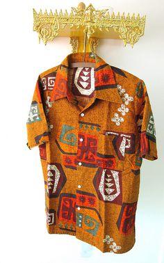 70s Vintage Kings Road Mens Hawaiian Shirt Cotton Barkcloth
