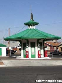 EL PASO, TEXAS: 1919 Vintage Gas Station restored to its fanciful glory.  Address:     Portland Ave., El Paso, TX Directions:     In the Manhattan Heights Historic District of El Paso, at the corner of Grant Ave., Elm St., and Portland Ave.