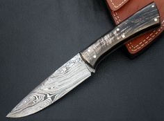 "Handmade 9"" Full Tang Damascus Hunting Skinner Knife With Beautiful Water Buffalo Horn Handle And Leather Sheath"